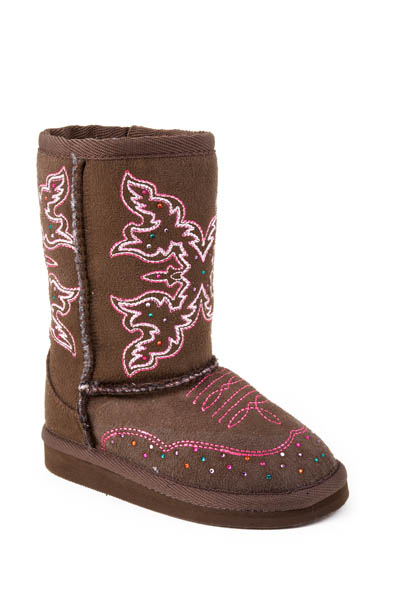 Children's Roper Brown Faux Shearling Boot