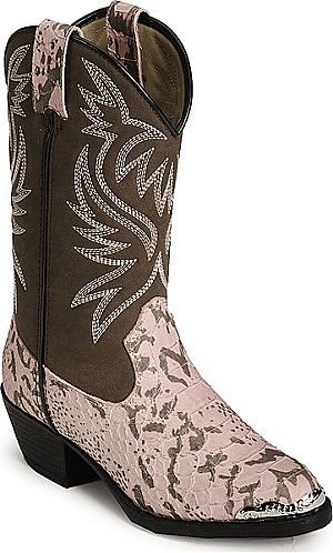 Childrens Pink Snake Print Cowboy Boots