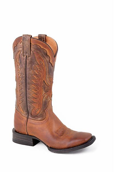 Mens Stetson Distressed Brown Boot with Eagle Overlay