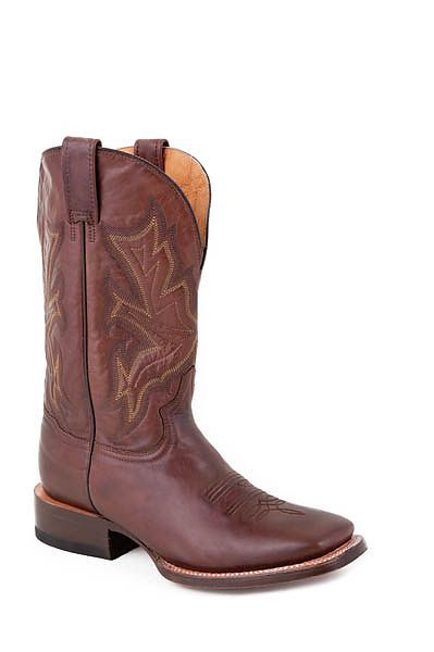 Mens Stetson Cafe Brown Wide Square Toe Boot