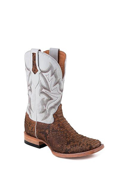 Mens Stetson Brown/White Exotic Python Boot