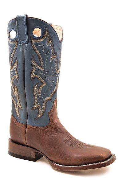 Mens Stetson Brown/Blue Square Toe Boot