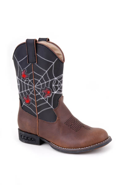 Children's Light-up Cowboy Boots in Black with Spiderwebs