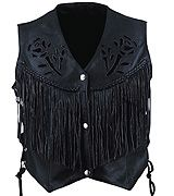 Women's Black Rose Vest w/ Fringe