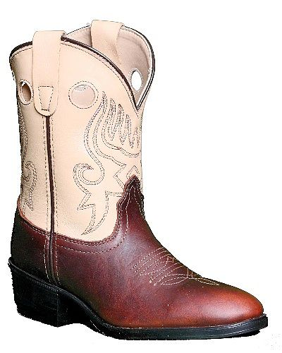 Pocono Leather Cowboy Boots in Cream & Brown