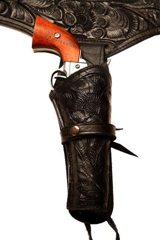 38/357 Caliber Black Western/Cowboy Action Style Leather Gun Holster and Belt