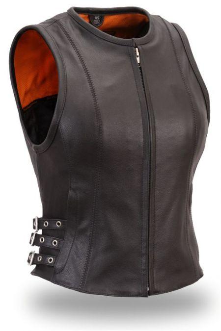 Ladies Side Buckle Zip Vest