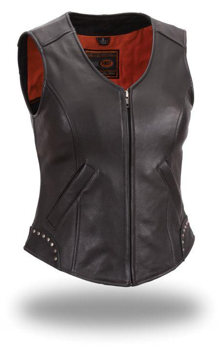 Women's Zip Front Vest w/ Stud Design