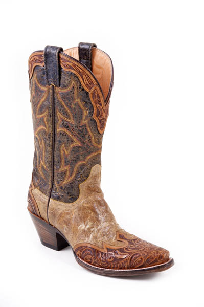 Mens Stetson Hand Tooled Wing Tip Boot