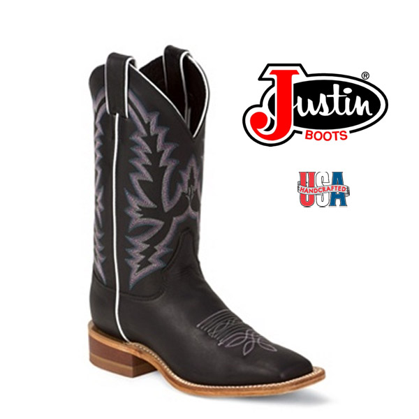 Women's Justin Bent Rail BLACK BURNISHED CALF  BRL316