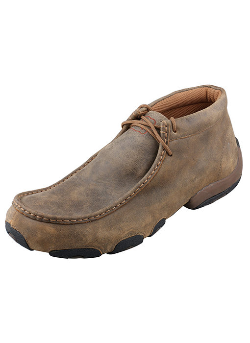 Mens Twisted X Boots Driving Moc in Distressed Brown Bomber