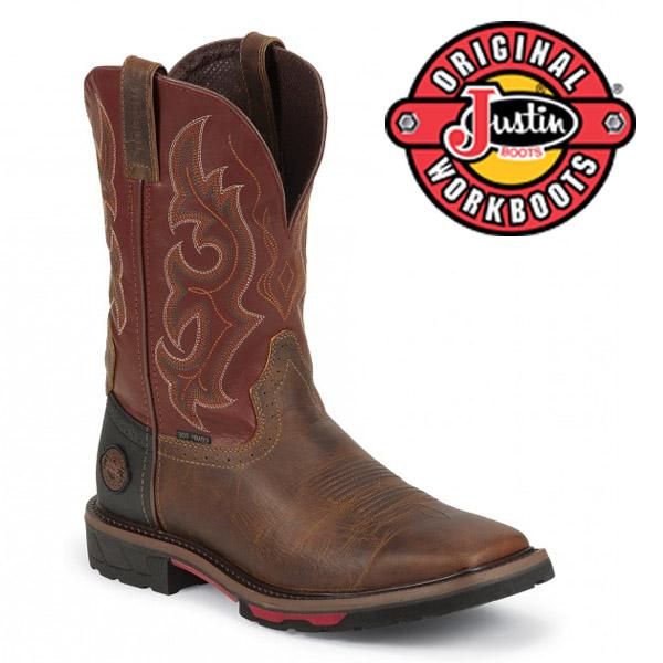 Men's Justin Boots Original RUGGED TAN WATERPROOF COMPOSITION TOE WK4627