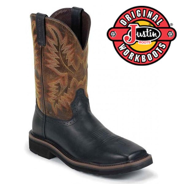 Men's Justin Boots Original Black Oiled Composition toe WK4818