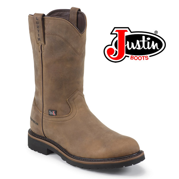 "Men's Justin Wyoming 10"" Waterproof Round Steel Toe Boot WK4961"