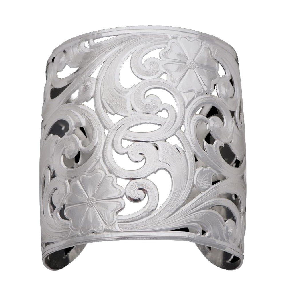 Silver Spring Filigree Flowers and Vines Wide Cuff Bracelet (BC1159)