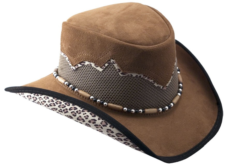 Sierra Beige Leather Hat with Leopard
