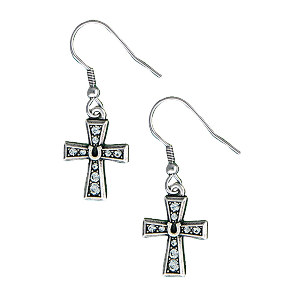 Vintage Charm Horseshoe Cross Dangle Earrings (ER1351)