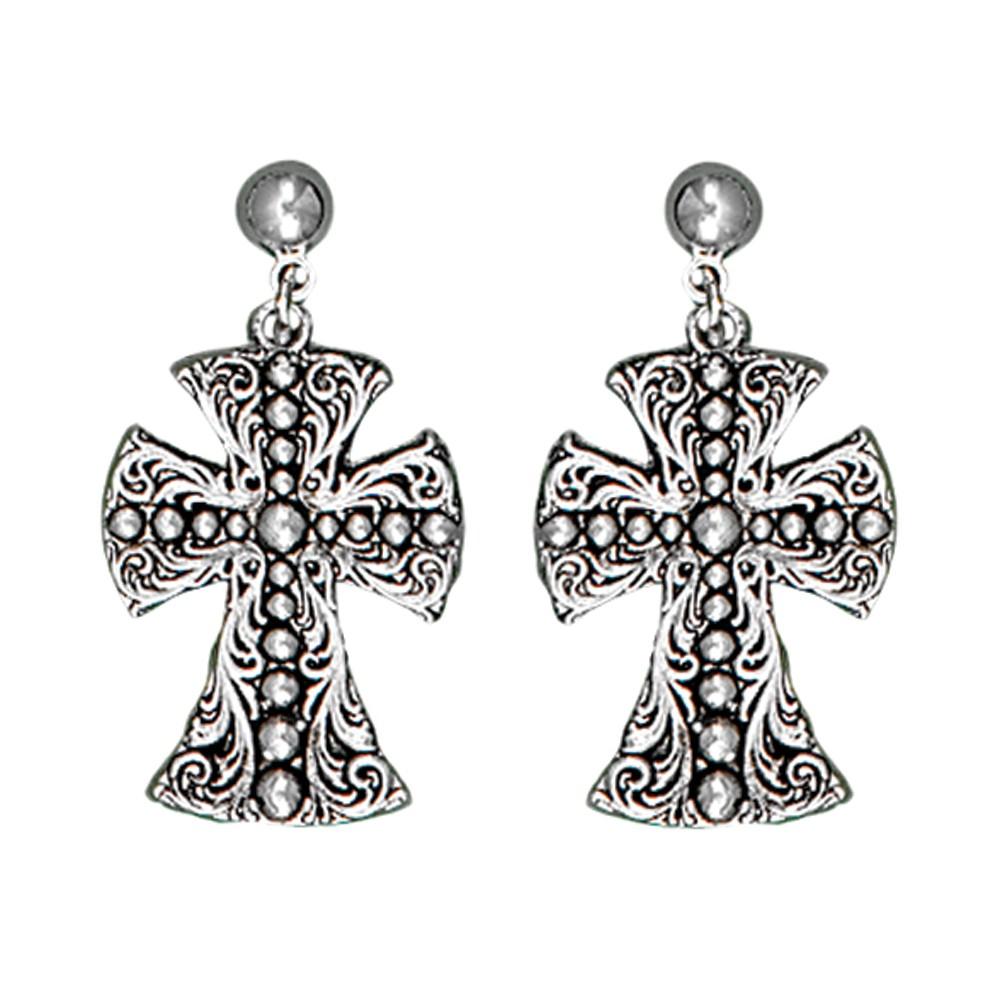 Western Deco Beaded Cross Dangle Earrings (ERS1422RTS)