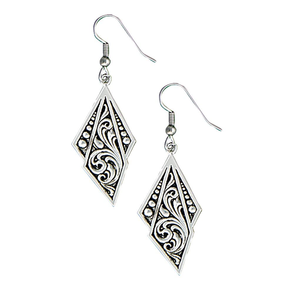 Western Deco Silver Jewel Dangle Earrings (ER1433BK)