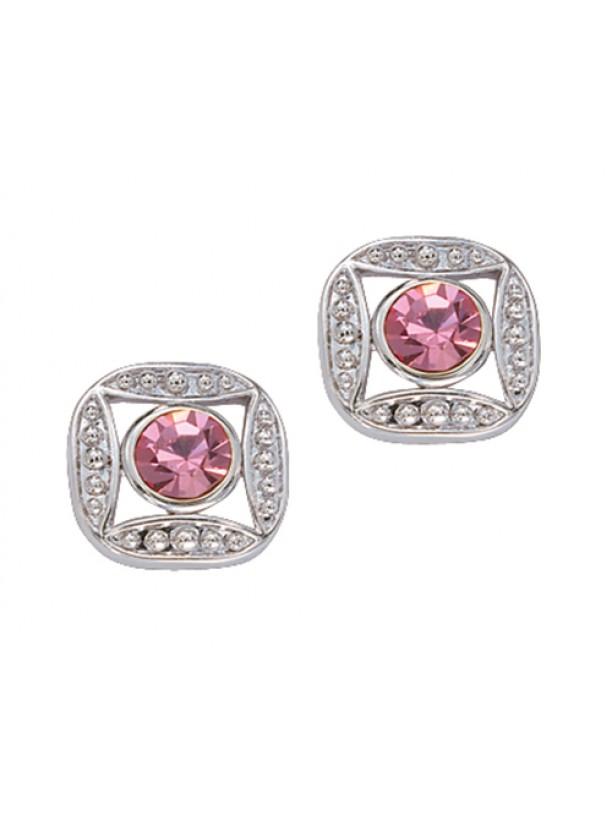 Bezel Set Square Pink Crystal Earrings (ER61503PK)