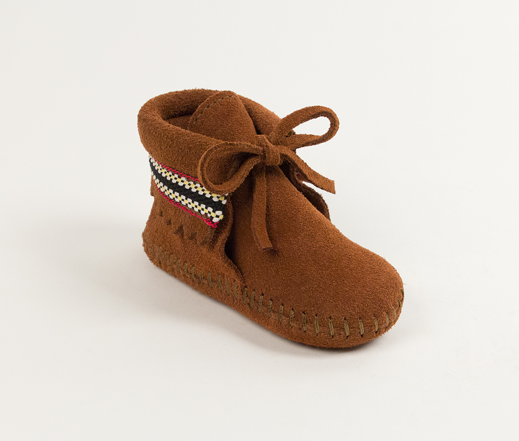 Infant Brown Suede Braid on Cuff Bootie
