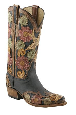 Womens Lucchese Classics Black Buffalo Hand Tooled Destroyed Finish Boots
