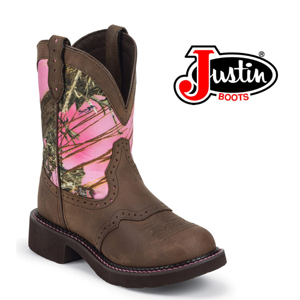 "Women's Justin Gypsy Boots 8"" Gypsy Pink Camo Distressed Boot L9610"