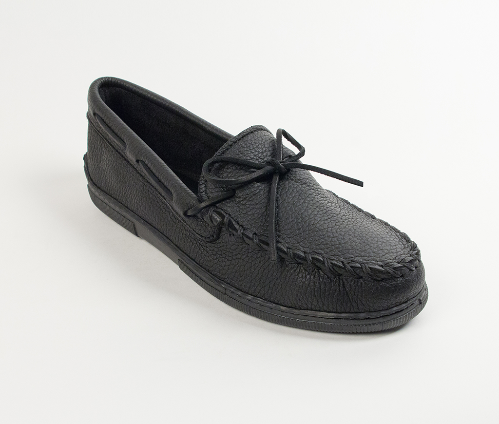 Men's Black Moosehide Hardsole Moccasin