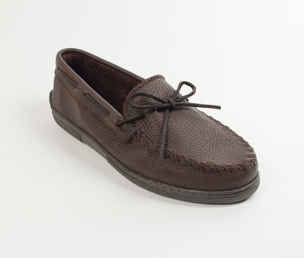 Men's Chocolate Moosehide Hardsole Moccasin