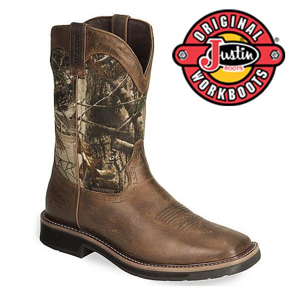 Men's Justin Work Boots Rugged Tan Cowhide Waterproof WK4676