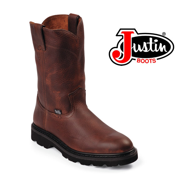 Mens Justin Pull On Work Boots Tan Premium Leather Round Toe Medium WK4905