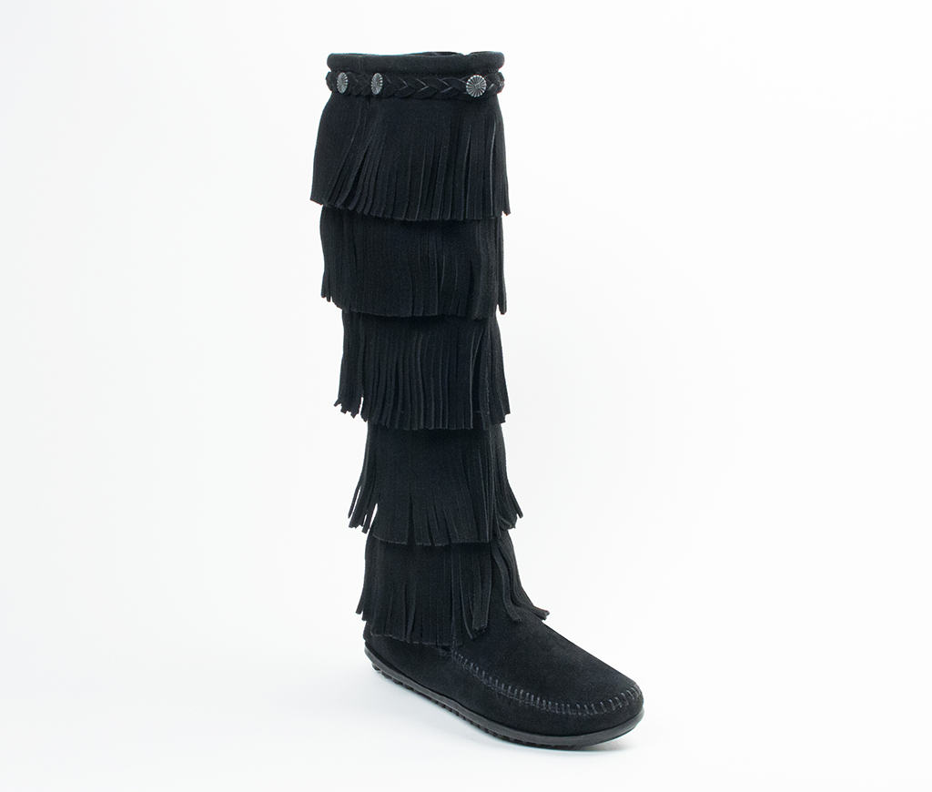 Womens 5 Layer Fringe Boot Black Suede
