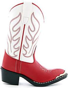 Old West Red/ White Kids Cowboy Boots for Boys and Girls