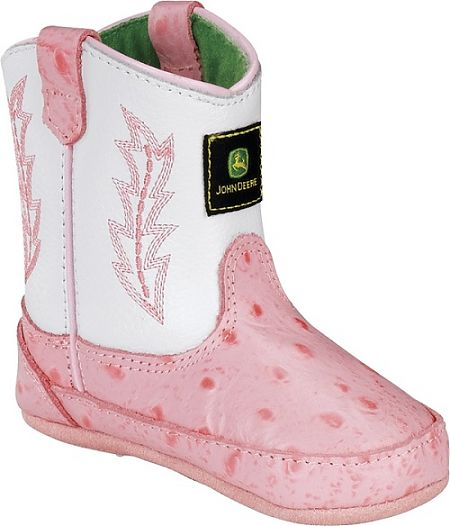Infants John Deere Boot in White/Pink Ostrich