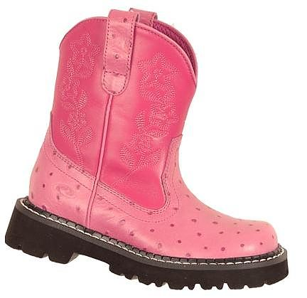 Toddlers Pink Ostrich Print Roper Chunk Cowboy Boot