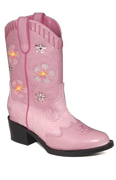 Children's Light-up Cowboy Boots in Pink w/ Pink Snakeskin