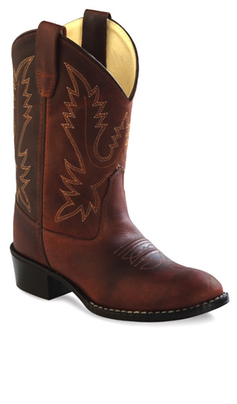 Old West Childrens Round Toe Western Boots Oiled Rust