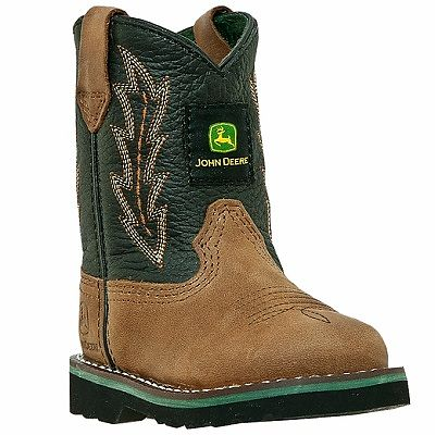Kids John Deere Boots in Black and Tan