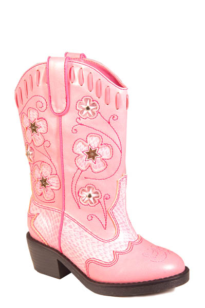 WESTERN LIGHTS PINK WITH PINK PIPING LIGHTED BOOT
