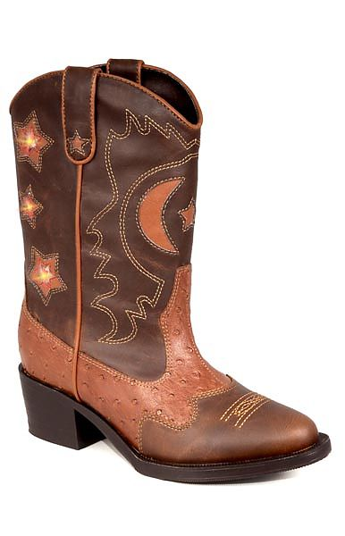 Kids Two Tone Brown Light Up Boots