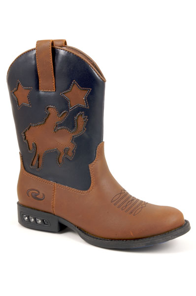 KIDS WESTERN LIGHTS IN HEEL TAN WITH NAVY SHAFT