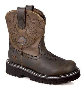Toddlers Roper Chunk Brown and Blue Cowboy Boot
