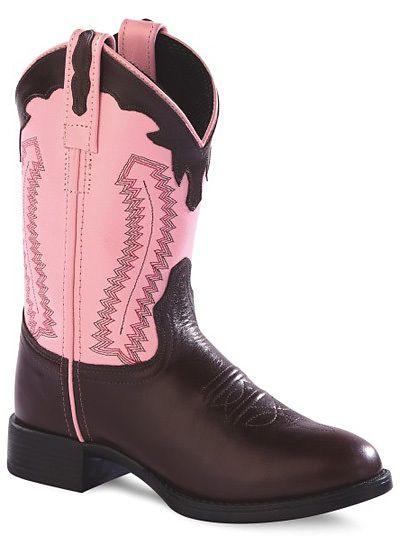Old West Girls' Pink and Chocolate Leather Cowboy Boots