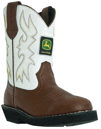 Kids John Deere Boots White