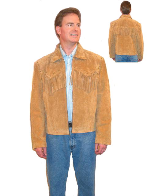 Mens Bourbon Suede Fringe Jacket