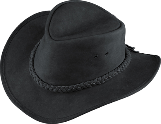 Henschel Outback Nubuck Black Leather Hat