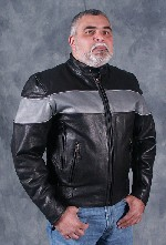 Silver Striped Vented Leather Coat