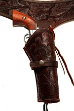 22 Caliber Brown Western/Cowboy Action Style Leather Gun Holster and Belt