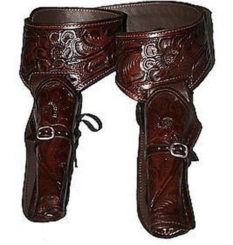 22 Caliber Brown Double Western Leather Gun Holster and Belt