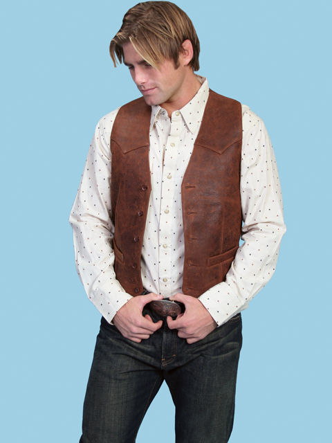 Scully Brown Leather Vest